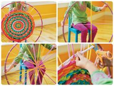 Hula Hoop Rug...Love it! Grab a pile of old t-shirts and a hula hoop and you are ready.