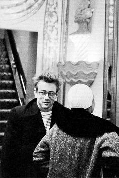 GARCON MENS FASHION STYLE BLOG James Dean with Eartha Kitt in New York 1955 ROUND EYEGLASSES STRIPE SHIRT PEA COAT JACKET HAIR
