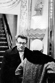 GARCON MENS FASHION STYLE BLOG James Dean with Eartha Kitt in New York 1955 ROUND EYEGLASSES STRIPE SHIRT PEA COAT JACKET HAIR