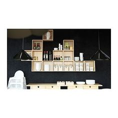 FÖRHÖJA small wall cabinets in solid birch with chopsticks, soy bottles and bowls Ikea Wall, Kitchen Organization, Floating Shelves, Black And Grey, Gray, Sweet Home, Interior Design, Room, Inspiration