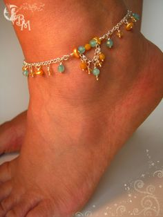 Items similar to Apatite, Citrine and Yellow Pearl Anklet on Etsy Tatting Jewelry, Wire Jewelry, Beaded Jewelry, Jewelery, Handmade Jewelry, Ankle Jewelry, Ankle Bracelets, Jewelry Bracelets, Foot Bracelet