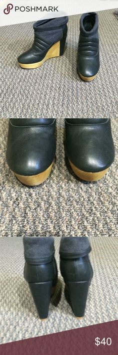 """N. Y. L. A. Platform wedge booties NYLA. NWT.  Platform wedge booties. Upper black leather with gray felt. Honey color wood bottom. Non slip sole. No box. Platform 1 1/2"""". Wedge is a total of 4 1/2"""". NYLA Shoes Ankle Boots & Booties"""