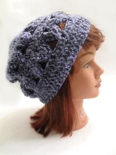 Cute hate for winter!  Geometric Slouchy Beanie Hat in Purple and Black Small / Medium