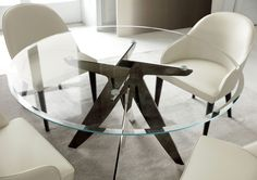 DINING ROOM   Judy chairs in leather & Ring table in transparent extra light glass