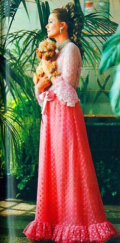 Princess Grace (Full Shot) UK Vogue March 1970, Photo by Lord Snowdon, Pink gown by Givenchy.