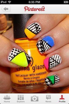 80s polka dot and line nails