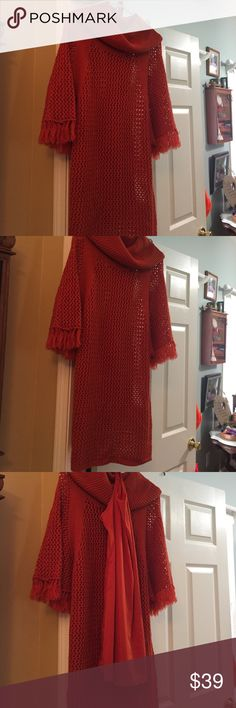 Jessica Simpson Sweater dress (or Tunic) Burnt orange, may have been worn once, with matching slip. Jessica Simpson Sweaters Crew & Scoop Necks
