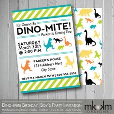 Dinosaur Birthday Invitation You choose the colors 1080 via