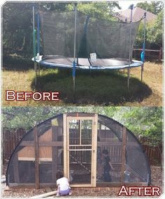 How to build a homesteading trampoline chicken coop project is a great way to recycle and repurpose a broken item into a truly useful housing for chickens.