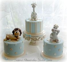 Baby Blue & Beige Dotted and Striped Lion, Giraffe and Hippo Cakes Torta Baby Shower, Baby Shower Cakes For Boys, Baby Boy Cakes, Pretty Cakes, Beautiful Cakes, Amazing Cakes, Cupcakes, Cupcake Cakes, Fondant Cakes
