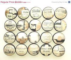 Wine Labels Kitchen Cabinet Knobs - Black, Gold, Cream, Bistro ...