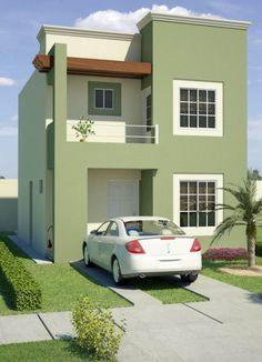 New house front facade building ideas Two Story House Design, House Front Design, Small House Design, Modern House Facades, Modern Bungalow House, Home Building Design, Home Design Plans, Building Ideas, House Paint Exterior