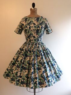 1950s 1960s Floral Blue Tulip Dress 50s 60s by CreatedAndCollected