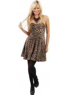 Designer Desirables Leopard Print Bustier Skater Dress Bustier Dress f8aa9d76c