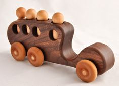 Organic Walnut Bus--four-passenger Wooden Toy Car by asummerafternoon on Etsy $23