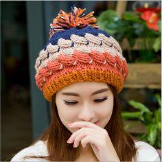 Para mujer gorros 2015 gorro de lana de punto oreja protección encantadora  sombrero caliente del invierno pompón de piel girls sombreros hiver toca ... a4396658a63
