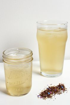 Cotton candy-flavored rooibos tea, soda, and agave. A healthier alternative to standard sodas.