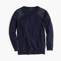 One of our all-time favorite sweaters, updated with a pretty lace detail at the shoulders. <ul><li>Semifitted.</li><li>Hits at hip.</li><li>Merino wool.</li><li>Three-quarter sleeves.</li><li>Rib trim at neck, cuffs and hem.</li><li>Dry clean.</li><li>Import.</li></ul>