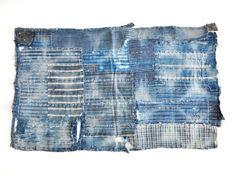 Excellent Boro Patchwork Aizome (indigo dyed) Cotton. Sashiko Stiching. Baby Diaper with Shibori. Collectible. Reversible. 05291