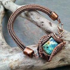 """Labradorite and Copper Bracelet Named """"Natalie"""" by MandatoJewelryDesign on Etsy Knit Bracelet, Copper Bracelet, Copper Jewelry, Turquoise Bracelet, Viking Knit Jewelry, Jewelry Ideas, Jewelry Design, Jewelry Bracelets, Jewellery"""
