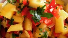 Mango salsa for fish tacos. This spicy, fruity blend of fresh ingredients will turn any dish into an exciting new favorite! Salsa Guacamole, Fruit Salsa, Fruit Fruit, Cilantro Salsa, Jalapeno Salsa, Mango Salsa Recipes, Spicy Salsa, Mexican Food Recipes, Vegan Recipes