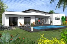 Fine Plan Maison Toit Plat En Longueur that you must know, You?re in good company if you?re looking for Plan Maison Toit Plat En Longueur House Roof, My House, Small Fireplace, Villa, Flat Roof, Modular Homes, Home Decor Styles, Future House, Planer