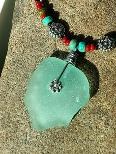 Sea Glass Jewelry Necklace Genuine Surf Tumbled Casual I Love the Beach Day Bohemian Beaded Rustic Men or Women Pastel Aqua Blue Colorful