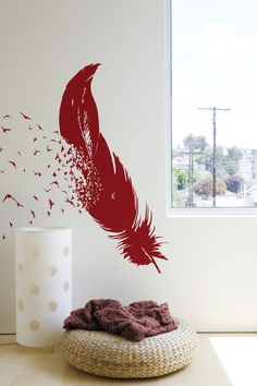 'Birds of a Feather' - fun with wall decals, easier than painting your own mural