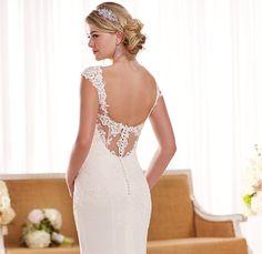 Lace Spaghetti Straps See Through White Mermaid Wedding Dress - Uniqistic.com