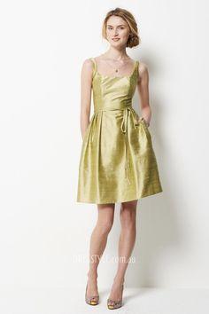 yellow dupioni sleeveless square neck a-line short pocket bridesmaid dress