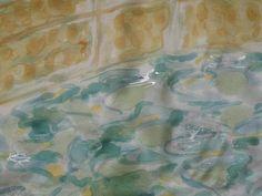 El #estanque (detalle)(65 x 65cm ) #Armonia.  charo santa ursula. #Pintura #seda. #decoración #Arte #Ilustración #regalo #handmade #exclusivo #creatividad #marrón #amarillo #rosa #azul #turquesa #Monet #verde#rojo #Coaching #Madrid