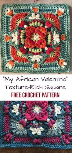 """""""My African Valentino"""" Crochet Texture-Rich Square [Free Pattern] #crochetpatterns"""