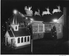 Tacoma Public Library - Image Archives Christmas Past, Christmas Images, Vintage Christmas, Library Images, Outdoor School, Image Archive, Outdoor Christmas Decorations, Winter Scenes, Lights