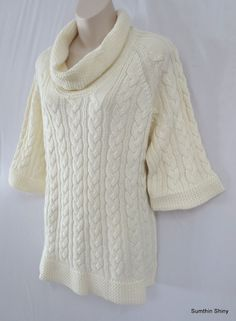 Coldwater Creek Cowl Neck Cable Knit Wool Blend Sweater Size XL 18 NWT