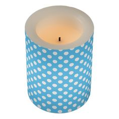 White Polka Dots on a Blue Background Flameless Candle