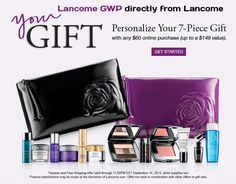 GWP now directly from http://Lancome.com With 60 USD Purchase you are able to build your own gift with 7 products inside. http://cliniquebonus.org/lancome-gift-with-purchase/