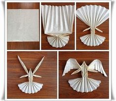 Origami Angel Folding Instructions Plus This page includes a lot of folding paper crafts for kıds,preschoolers,kindergarten. folded paper caterpillar craft for kids paper toys for kids paper folding skills how to make origami for kids easy origami: Origami Paper Folding, Origami And Kirigami, Paper Crafts Origami, Origami Art, Diy Paper, Paper Art, Origami Dove, Origami Ideas, Napkin Folding