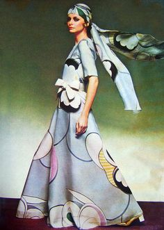 Christian Dior 1969 vintage couture long gown dress maxi hostess graphic novelty print blue white yellow head scarf bow.