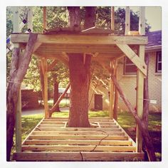 The basis for the perfect tree house. Cubby Houses, Play Houses, Backyard Projects, Outdoor Projects, Outdoor Spaces, Outdoor Living, Tree House Plans, Diy Tree House, Building A Treehouse