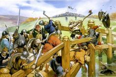 The battle of Stamford Bridge; Sept. 25 1066. King Harold abandoned waiting for Duke William of Normandy to attack the southern coast of England, moving north to address one of the last Viking raids, led by Harald Hardrada. Hardrada's army was caught divided and having left their armor with their ships. A single Viking held the Anglo-Saxon army at the bridge, allowing Hardrada to organize his forces. The Viking warrior was felled by a Saxon, who stabbed him from under the bridge.