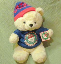 1989 K MART Teddy Bear with TAGS Christmas Dan Dee Vintage Blue Knit Sweater Hat #DanDeeKMart