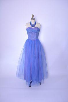 Vintage 1950s 50s Prom Dress Formal Strapless Gown Lace Shelf Bust Lilac Blue by littlestarsvintage on Etsy https://www.etsy.com/listing/214586876/vintage-1950s-50s-prom-dress-formal