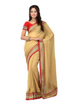 #Designer Cream #Saree #Shopping   For More Saree Check this page now :-http://www.ethnicwholesaler.com/sarees-saris
