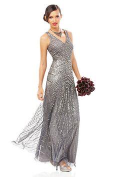 Mix & Match Bridesmaids' Dresses, Gunmetal Gray Sleeveless Beaded V-Neck Gown Look