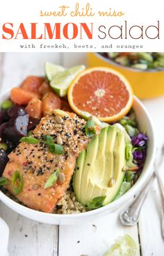 Super healthy foods like freekeh, beets, oranges, and avocado are just part of what make this nutritious 30 minute Sweet Chili Miso Salmon Salad a dinner win any night of the week! via @theforkedspoon #salmon #saladbowl #salad #healthy #30minutemeal #beets #avocado #miso #sweetchilisauce #easyrecipe | For this recipe and more visit, https://theforkedspoon.com/ via @theforkedspoon