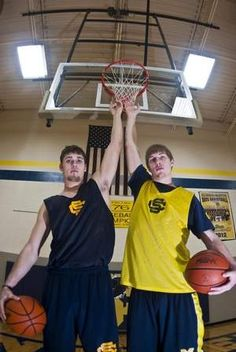 Rarely in Class D does a team have an above-the-rim player. Climax-Scotts has two of them in 6-foot-7 towers Malachi Satterlee, left, and Aaron Cook, right.