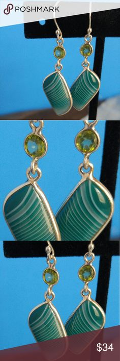 Green Botswana Agate, Peridot 925 Sterling Silver Green Botswana Agate and Peridot Sterling Silver 925 hallmark earrings. Gorgeous colors. Another handmade, unique, one-of-a-kind piece of jewelry. Handmade Jewelry Earrings