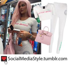 da5087b2f1e Kylie Jenner: Social Media Style · Buy Kylie Jenner's adidas Originals by  Alexander Wang crop top and leggings and pink Hermes Birkin
