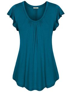 Bebonnie+Women's+Casual+V+Neck+Short+Sleeve+Loose+Fit+T+Shirt+Blouse+Tops