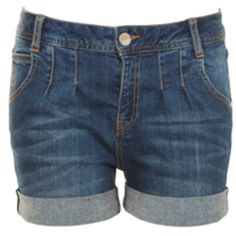 A|Wear Pleat Denim Shorts ($24) ❤ liked on Polyvore featuring shorts, bottoms, pants, short, jeans, denim, short jean shorts, jean shorts, pleated shorts and denim short shorts